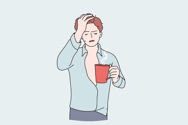 Ochtendkater en griepconcept