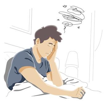 Ochtendmigraine, moeilijk wakker te worden, chronische vermoeidheid en nerveuze spanning, stress of griepsymptonconcept