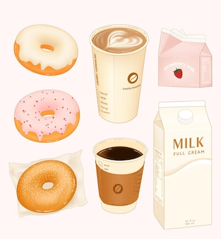 Ochtendontbijt met koffiedonuts en melk