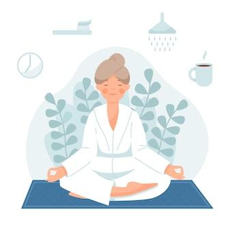 Ochtendroutine de vrouw wordt wakker doet yoga poetst haar tanden neemt een douche ontbijt