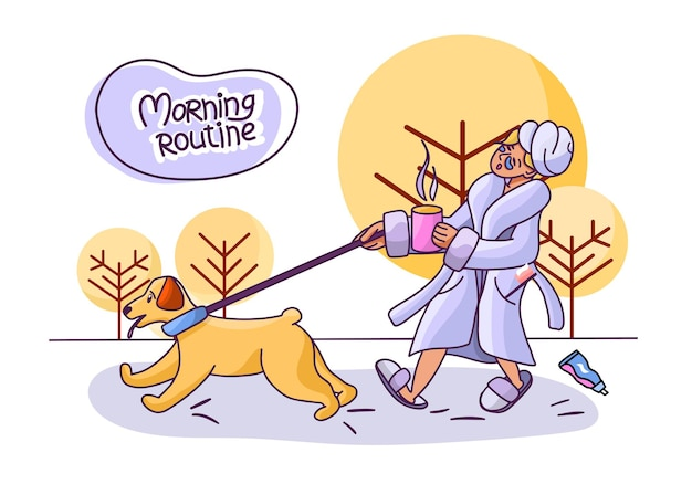 Ochtendroutine een meisje in een badjas en met een kopje koffie een wandeling met de hond