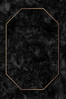 Octagon gouden frame op zwarte achtergrond vector