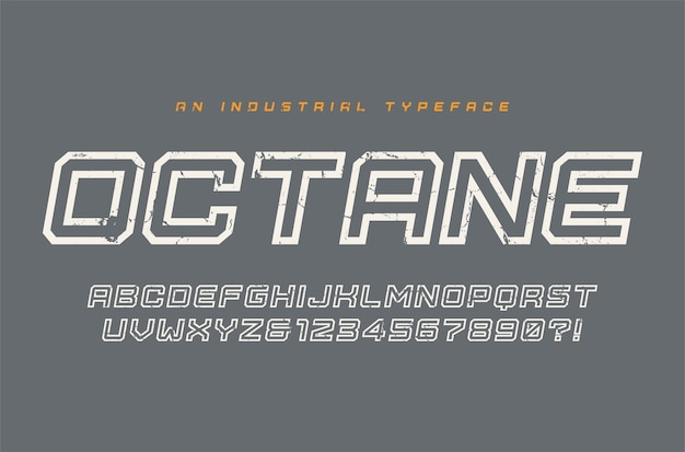 Octane-weergave lettertype, lettertype, alfabet, typografie globale stalen