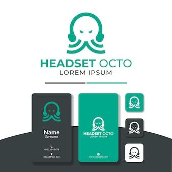 Octo met behulp van headset logo ontwerp vector