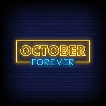 October forever neon signs style text vector