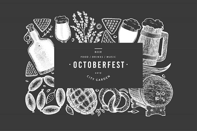 Octoberfest banner. hand getekende illustraties op schoolbord.