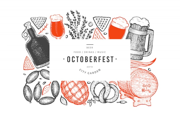 Octoberfest banner. hand getekende illustraties.