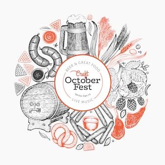 Octoberfest-sjabloon. hand getekende illustraties.