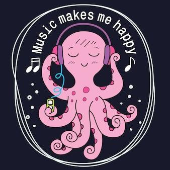 Octopus cartoon hand getrokken voor t-shirt