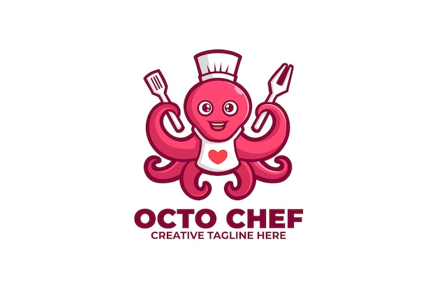 Octopus chef zeevruchten mascotte logo