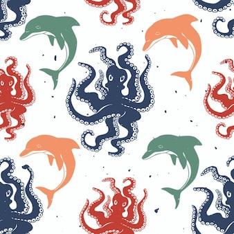 Octopus en dolfijn vector naadloos patroon