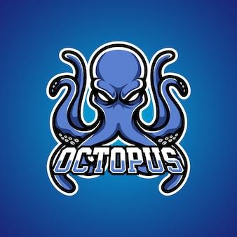Octopus gamer e sports mascotte-logo