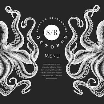 Octopus gekleurde sjabloon voor spandoek. retro menu ontwerp