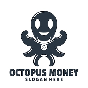 Octopus geld logo ontwerp vector