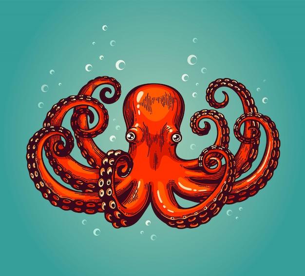 Octopus gravure. vintage kleur gravure kleur illustratie. retro-stijl kaart. rode octopus op blauwe achtergrond.