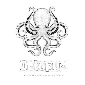 Octopus hand getekend dier illustratie