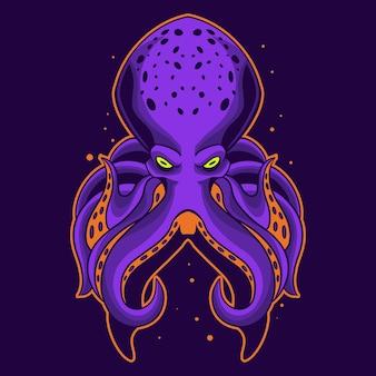 Octopus illustratie op donkere achtergrond
