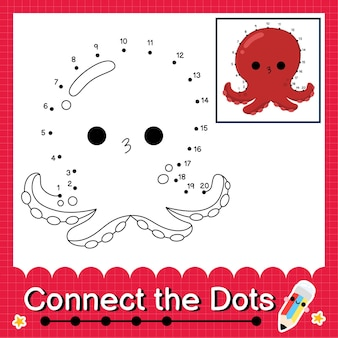 Octopus kinderpuzzel verbind de stippen werkblad voor kinderen die getallen 1 tot 20 tellen