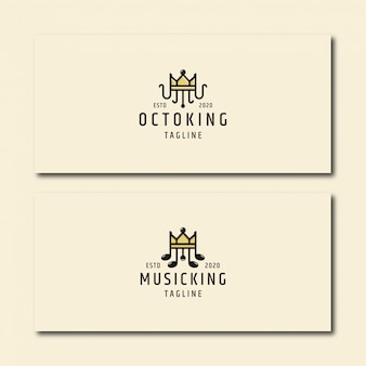 Octopus koning en muziek koning, logo sjabloon instellen