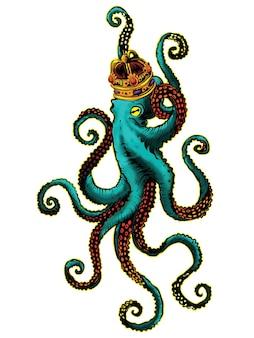 Octopus koning kunstwerk illustratie