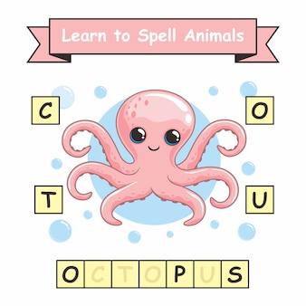 Octopus leer het werkblad dierennamen spellen