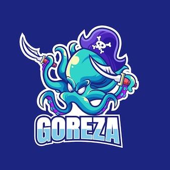 Octopus mascotte esport logo ontwerp