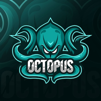 Octopus mascotte logo esport sjablonen
