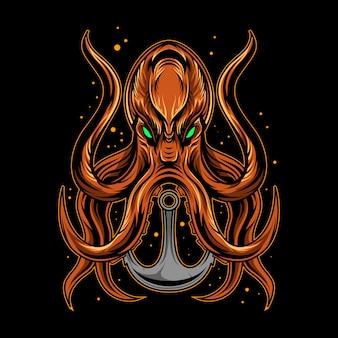 Octopus met anker schip illustratie