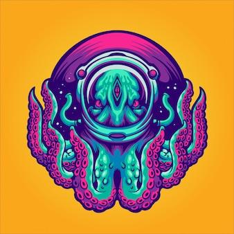 Octopus met astronaut helm illustratie