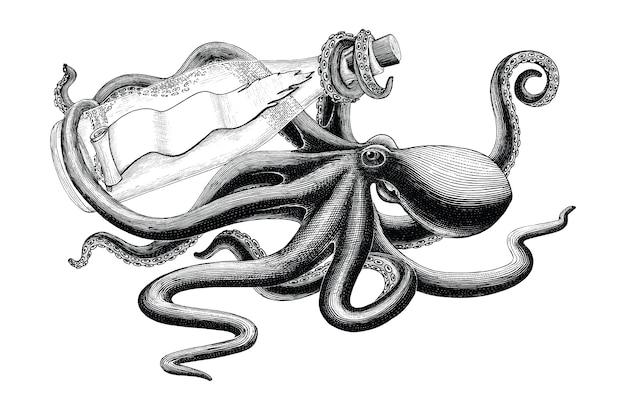 Octopus met fles vintage