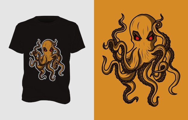Octopus monster illustratie t-shirt ontwerp