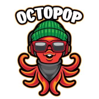 Octopus schattig mascotte logo