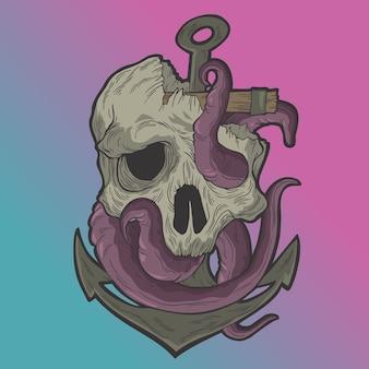 Octopus schedel en anker