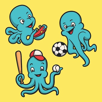 Octopus spelen van games, bal en honkbal dier logo mascotte illustratie pack