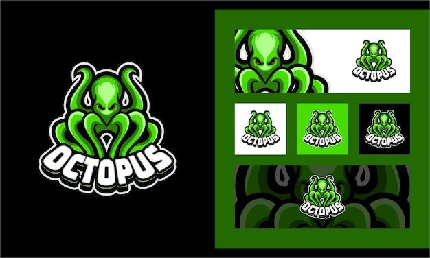 Octopus squid kraken gaming sport mascotte logo sjabloon
