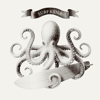 Octopus tentakels met een surfplank in de stijl van vintage etsen