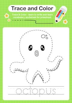 Octopus-trace en kleur voorschoolse werkbladtracering
