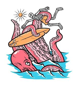 Octopus valt de illustratie van surfers aan