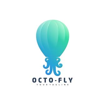 Octopus vliegen logo ontwerp illustratie concept.