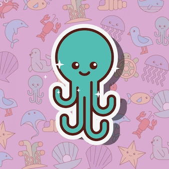 Octopus zee leven cartoon