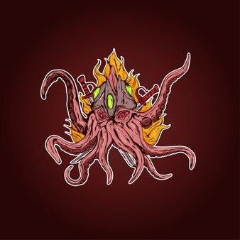 Octopusmonster met twee samoeraienzwaarden