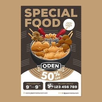 Oden japans eten poster in platte ontwerpstijl