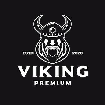 Odin viking gezicht wit logo Premium Vector