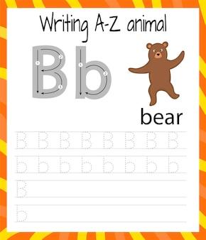 Oefenblad handschrift. basis schrijven. educatief spel voor kinderen. de letters van het engelse alfabet leren voor kinderen. brief b . schrijven