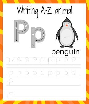 Oefenblad handschrift. basis schrijven. educatief spel voor kinderen. de letters van het engelse alfabet leren voor kinderen. brief p . schrijven