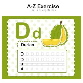 Oefenblad voor kinderen, alfabet d. oefenen met durian cartoon vocabulaire illustratie