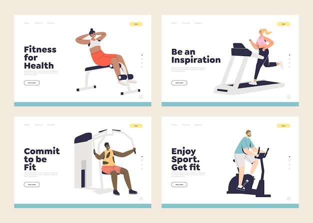Oefening en trainingsconcept van een reeks sjablonen voor bestemmingspagina's met fitte en gezonde mensen die trainen in de sportschool. gezonde levensstijl, sport en fitness