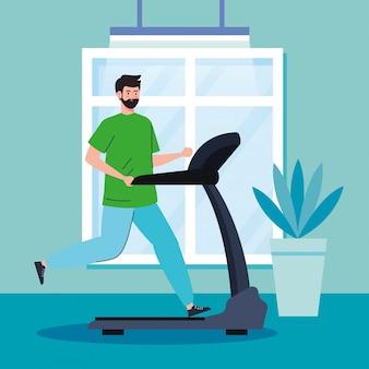 Oefening thuis, man loopt op de loopband, het huis gebruiken als een sportschool