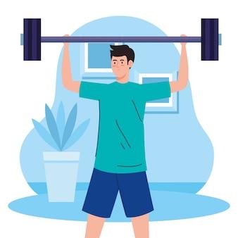 Oefening thuis, man tillen gewicht, het huis gebruiken als een sportschool