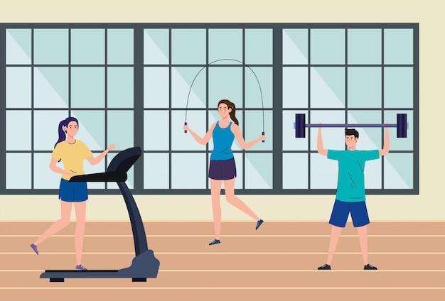 Oefening thuis, mensen die sporten, het huis gebruiken als een sportschool